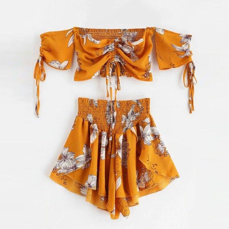 2 PCS Off Shoulder Cinched Floral Women Set Slash Neck Short Sleeves Crop Top High Waist Shorts Set Beach Boho Summer Women Suit