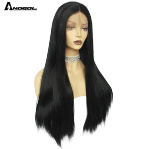 Image 3 - ANOGOL Long Straight Black Wig Synthetic Wig for Women Natural Middle Part Lace Wig Heat Resistant Fiber Wig for Women Daily Use
