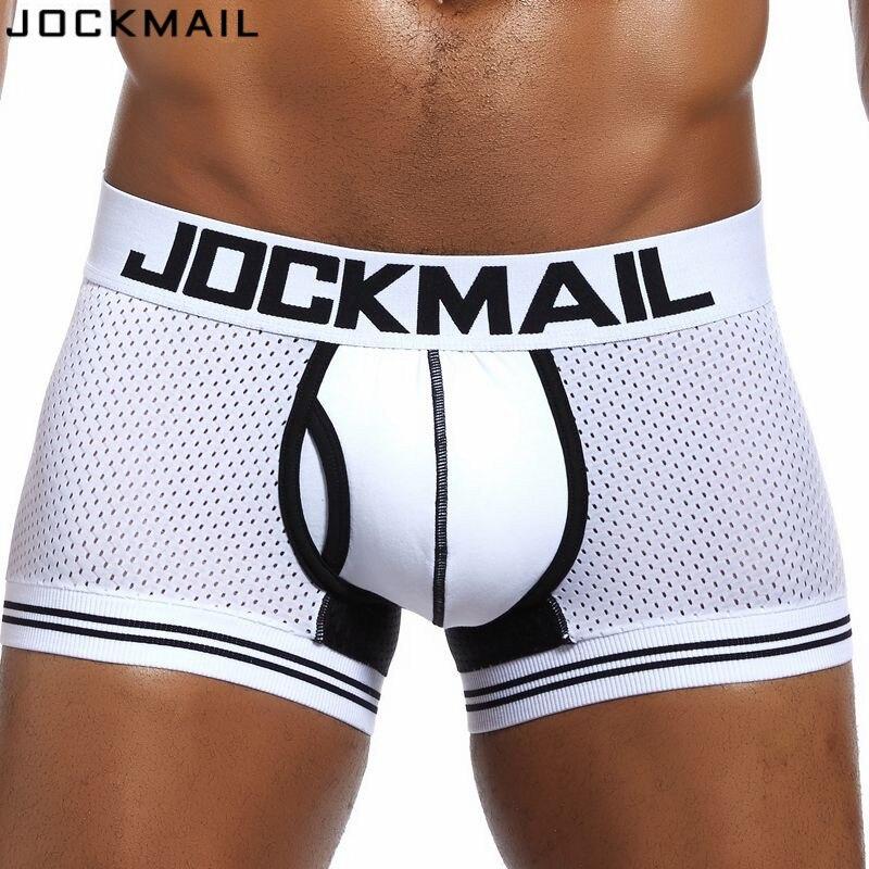 Мужские сетчатые трусы-боксеры JOCKMAIL, хлопковые дышащие трусы-шорты, одежда для сна для геев