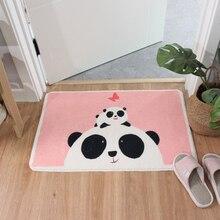 Cartoon Panda Shaggy Fußmatte Anti skid Latex Boden Innen Eingang Boden Matte Maschine Waschen Küche Teppich Rosa Bad Teppich