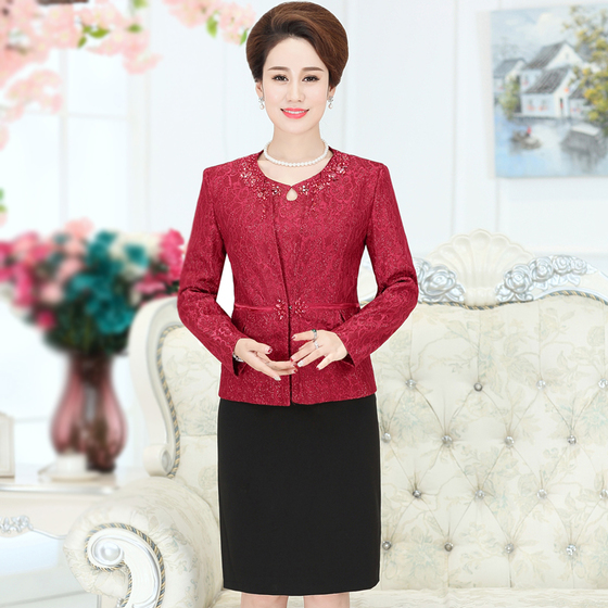 2 Pieces High Quaity Free Shipping New Autumn Winter Women Fashion Dress Suit Middle Old Aged Mother Plus Size Set Slim Red