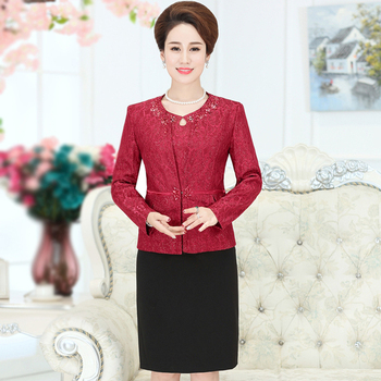 2 Pieces High Quaity Free Shipping New Autumn Winter Women Fashion Dress Suit Middle Old Aged Mother Plus Size Set Slim Red original 2 pieces set dress 2017 new autumn slim fashion temperament black lace dresses women