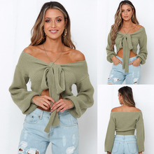 Womens Fashion Solid Color Off Shoulder Crop Sweater