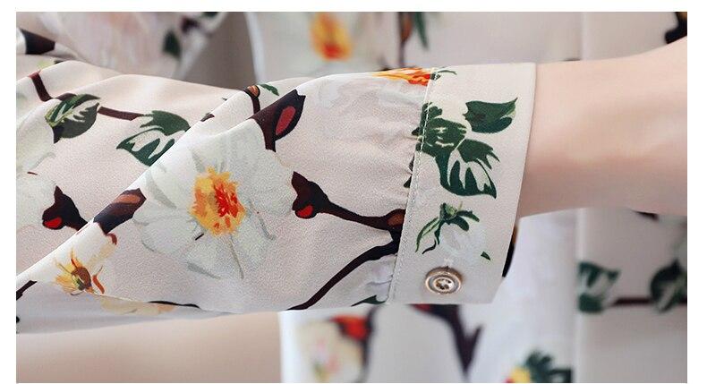 fashion womens tops and blouses 2020 new print chiffon blouse shirt bow V collar office blouse long sleeve women shirts 2432 50 6