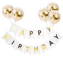 Happy Birthday Banner Party Decorations Kids Bunting Children Girl Child Adult Favors Supplies