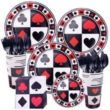 Casino Party Decorations Spades/Hearts/Clubs/Diamonds Disposable Tableware Set Las Vegas Casino Themed Party Decor Supplies цена 2017