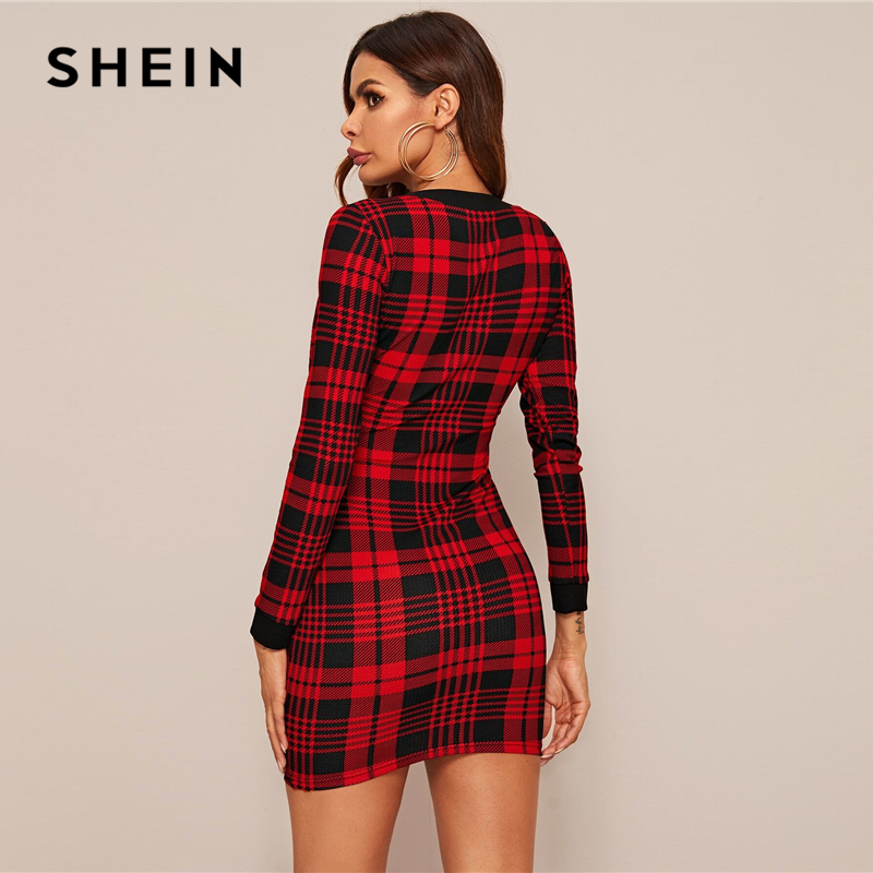 SHEIN Red Button Front Plaid Bodycon Dress Women Spring V neck Elegant Slim Fitted Office Ladies Pencil Mini Dresses 2