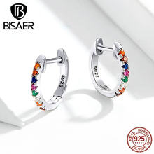 Stud Earrings BISAER Hot Sale 925 Sterling Silver Round Circle Women Earrings Colorful Cubic Zircon CZ Silver Jewelry ECE721(China)