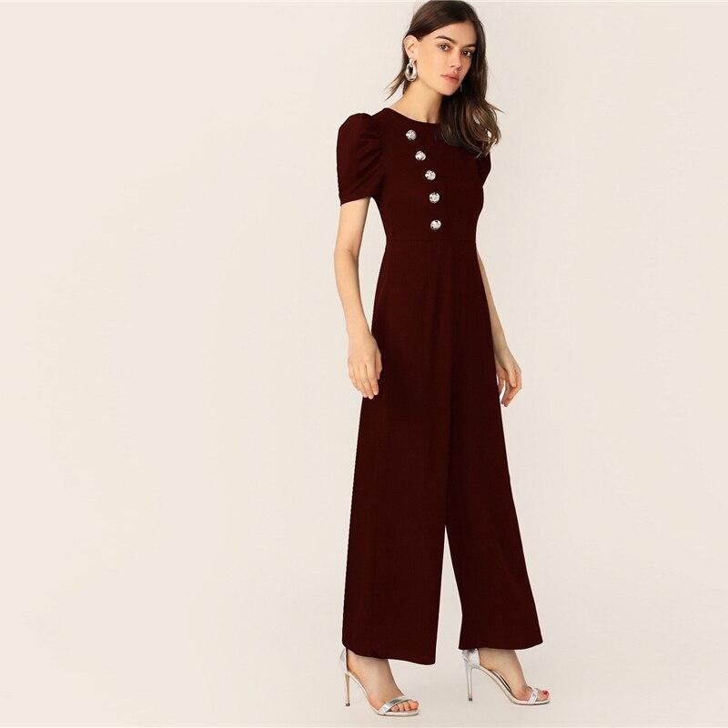 SHEIN Button Embellished Puff Sleeve Wide Leg Jumpsuit Elegant Spring Autumn Women Short Sleeve High Waist Jumpsuit 14