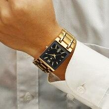 Мужские часы Топ бренд класса люкс WWOOR золотые черные квадратные кварцевые часы мужские водонепроницаемые золотые мужские наручные часы