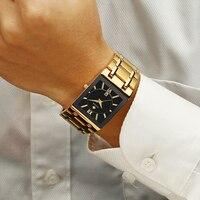 Men Watches Top Luxury Wwoor Gold Black Square Quartz Watch Men 2020 Waterproof Golden Male Wristwatch Men Watches