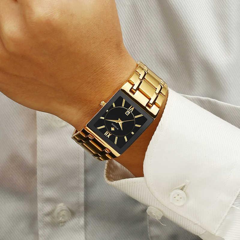 גברים שעונים למעלה מותג יוקרה WWOOR זהב שחור כיכר קוורץ שעון גברים 2019 עמיד למים זהב זכר שעוני יד גברים שעונים 2019