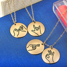 Engraved Sign Language I Love You Pinky Swear Okay Hand Gestures Necklace Sister Best Friends Friendship Jewelry WD375