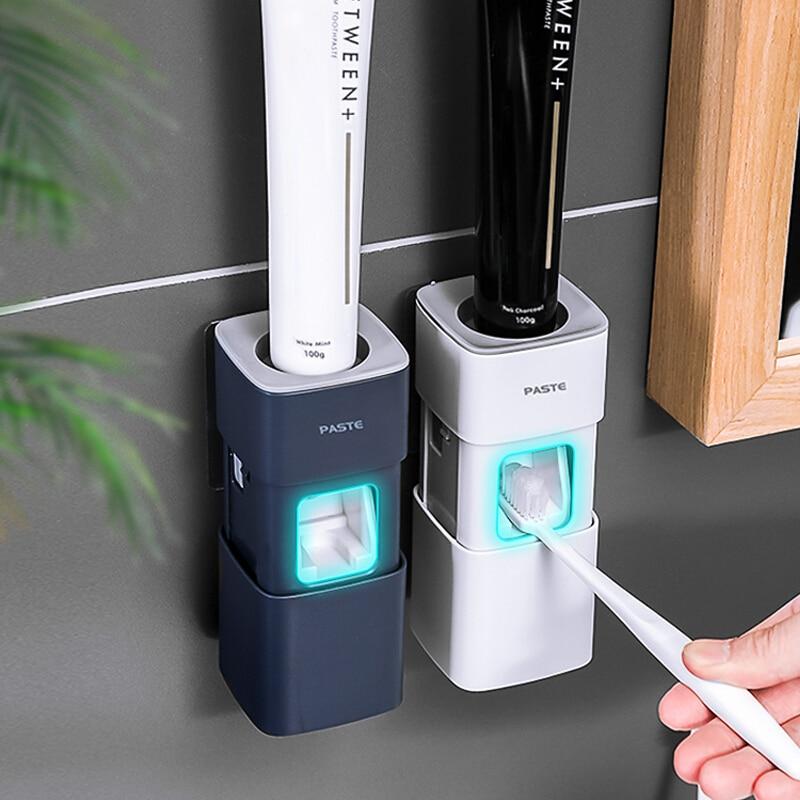 Dispensador automático de pasta de dientes, exprimidor para baño, plástico a prueba de polvo, accesorios de baño montados en la pared Estante de almacenaje para cocina de 2/3/4 capas, Torre deslizante delgada, montaje movible, estante de plástico para baño, ruedas organizador de ahorro de espacio