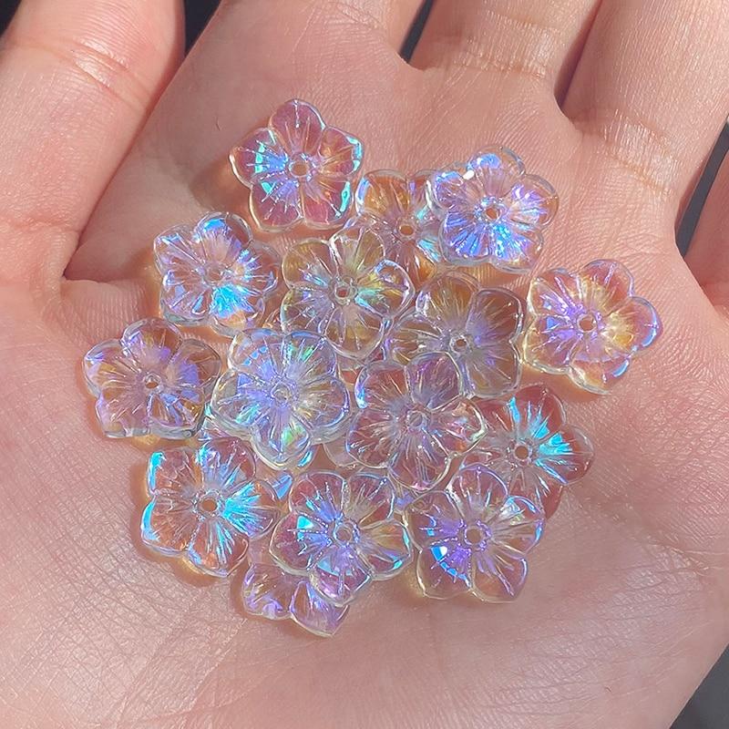 20 шт., бусины с цветком сливы AB, цветные стеклянные бусины для изготовления украшений вручную, аксессуары для самостоятельной сборки, стеклянные бусины 12x12мм|Бусины|   | АлиЭкспресс