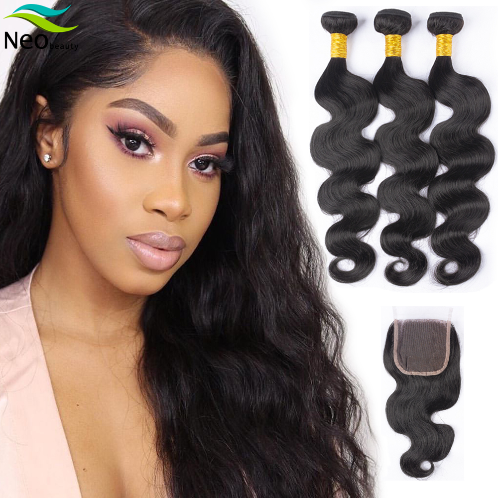 Neobeauty 3 Bundles Body Wave with Closure Cambodian Wet and Wavy Bundles with Closure for remy Hair Extension