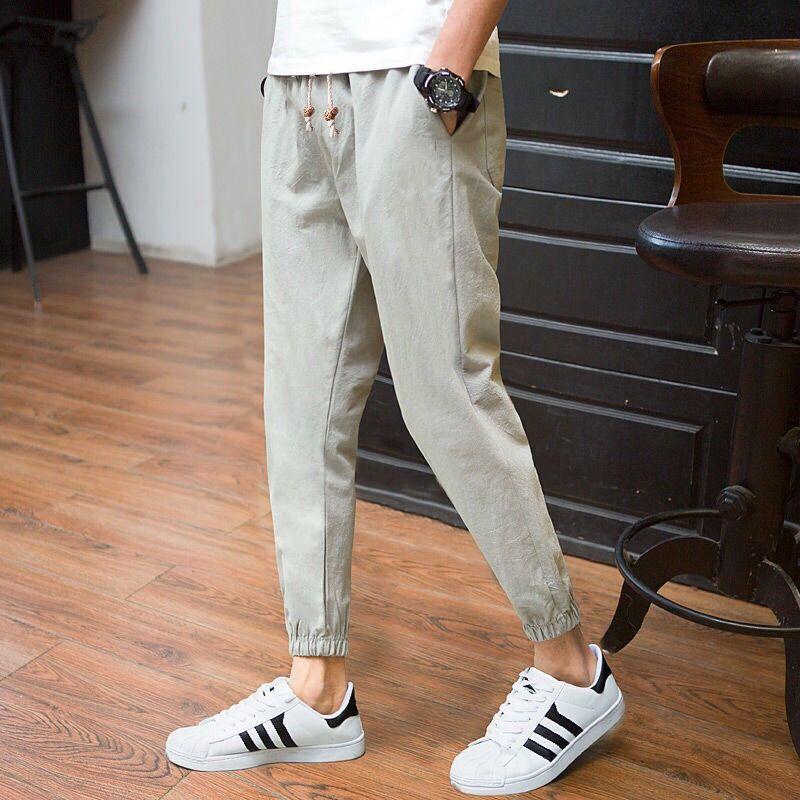 Linen Trousers Pencil-Pants Japanese-Style Haren Men's Fashion Ankle-Length Autumn Leisure