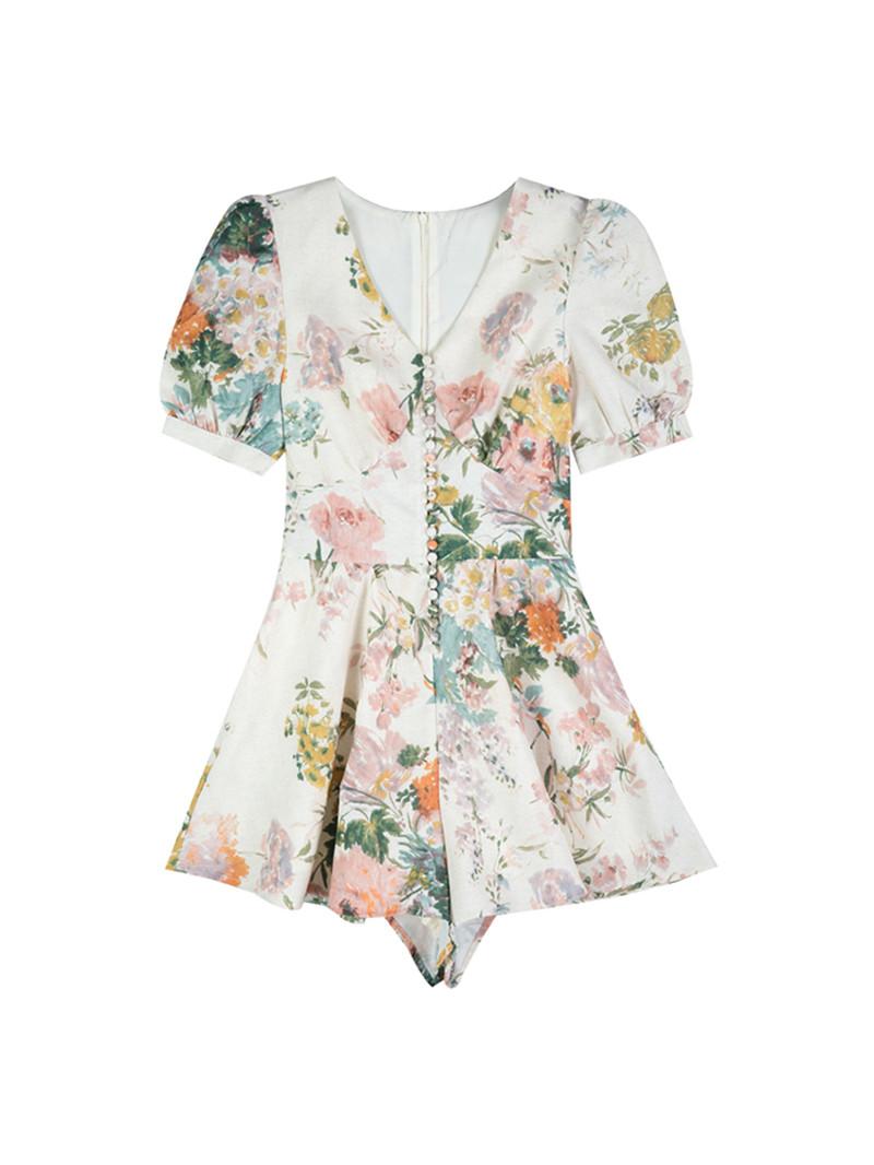 Runway Design Summer Playsuit Women High Waist Vintage Sexy V neck Floral Print Mini Jumpsuit Boho Puff Sleeve Overalls A942