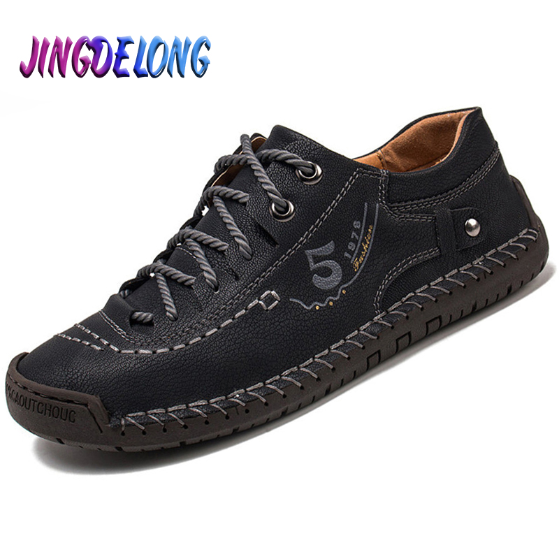 Brand New Fashion Leather Men Casual Shoes Handmade Lace-Up Men Driving Shoes Comfortable Slip On Mens Loafers Moccasins 38-48