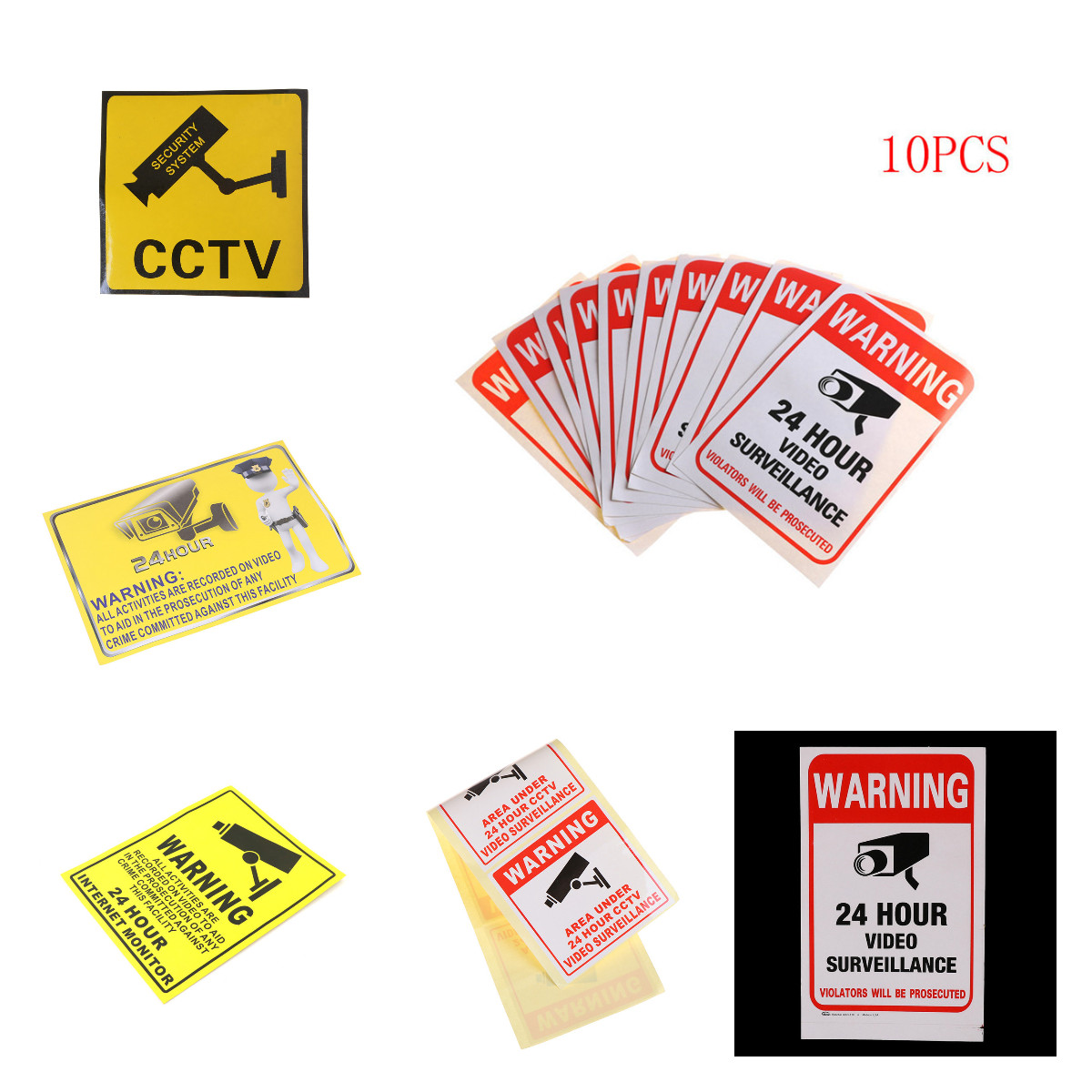 Warning Sticker 24H Video Camera System Warning Sign Wall Decal Surveillance Monitor Decal Public Area Security Wall Sticker