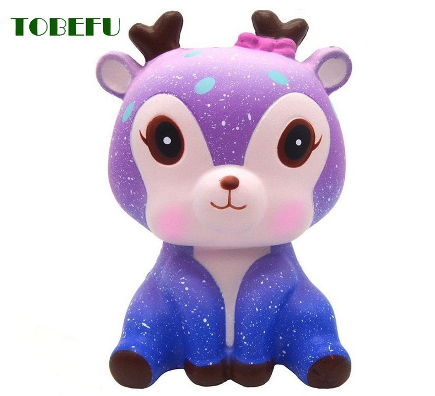 TOBEFU Jumbo Kawaii Colorful Galaxy Deer Squishy Slow Rising Squeeze Toys Cream Sweet Scented Anti Stress Toy For Kid Xmas Gift