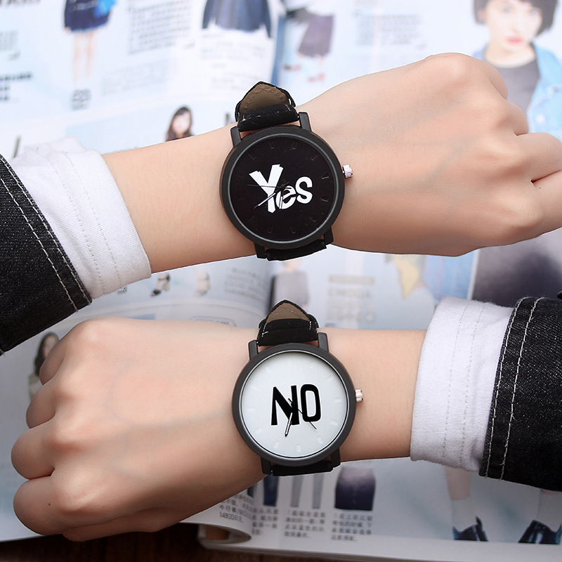 Fashion Trending Couple Watches Women Men YES&NO Leather Quartz Wrist Watches Lover Watch Couple Gift Ladies