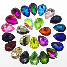 Mini Order All Sizes Colors Teardrop Glass Crystal Fancy Stone Pointed Back Rhinestone Droplet for Jewelry Making