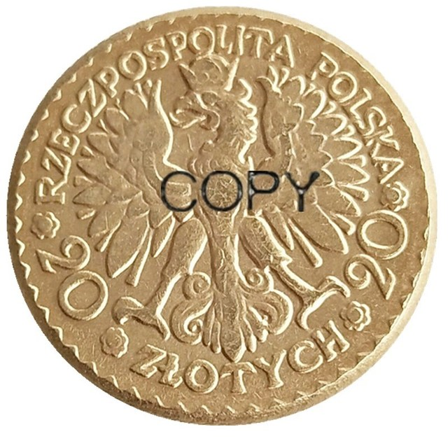 Poland 20 Zlotych 1925 Gold Plated Copy Coin