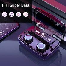 Bluetooth наушники V5.0 с сенсорным управлением, беспроводные наушники с зарядным устройством 1200 мАч, наушники с глубокими басами для мобильного телефона
