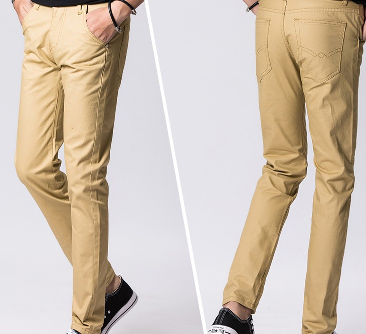 Spring And Autumn New Style Men'S Wear Slim Fit Pants Trousers Large Size Solid Color Korean-style Washing Casual Pants Men's Me