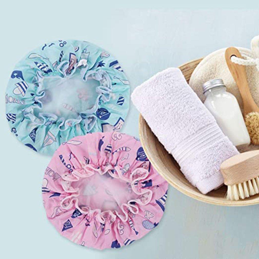 Многоразовый водонепроницаемый красивый дизайн душ шапочка высокая эластичность и прочный душ шапочка нейлон ткань PEVA подкладка