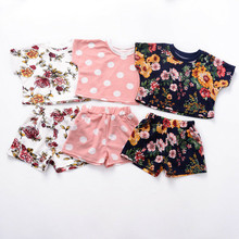 Toddler Kid Baby Girl Floral Tops T-Shirt Elastic Shorts Out