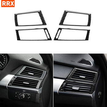 For BMW X5 E70 X6 E71 2008-2013 Carbon Dashboard Side Air Conditioning Vents Sticker Grid AC Outlet Frame Tuning Car Accessories image