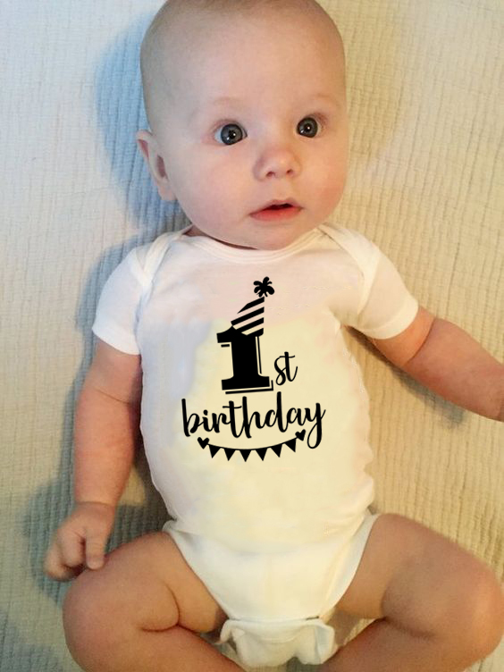 Newborn Funny Jumpsuit Baby Boys Girls First Birthday Jumpsuit Infant Bodysuit Short Sleeve 100%Cotton Clothes Outfits 0-18M