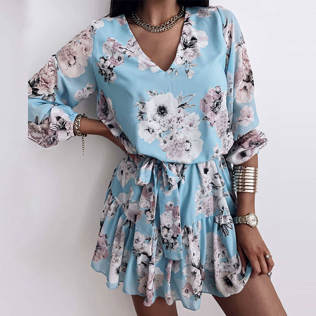 Long Sleeve Chiffon V-Neck Floral Print Mini Dress 4