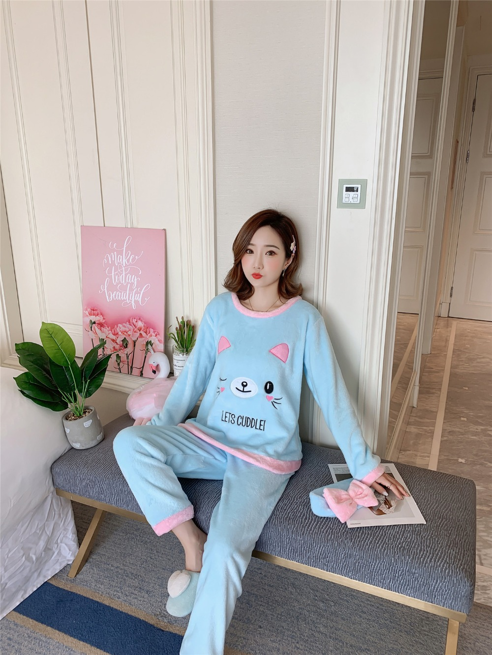Betyline 2019 New Winter Pajamas For Women Sleepwear Warm Flannel Long Sleeves Pajamas Cute Animal Homewear Thick Homewear 177