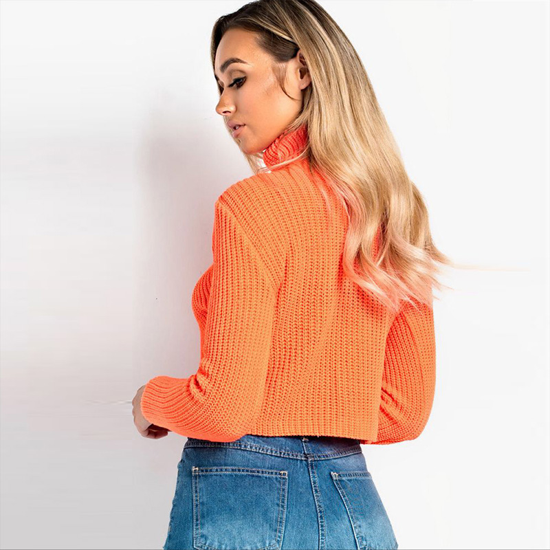 ALLNeon Sexy Criss Cross Front Turleneck Women Crop Sweaters Long Sleeve Knitting Pullovers Party Club Wear Ladies Short Jersey in Pullovers from Women 39 s Clothing