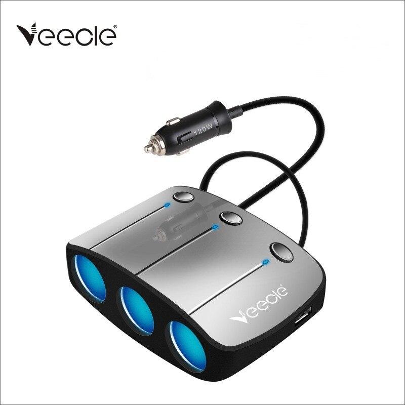 VEECLE 12V/24V Car Cigarette Lighter Socket Splitter Adapter 130W High Power USB Car Lighter 3.1A Dual Usb Charger Plug
