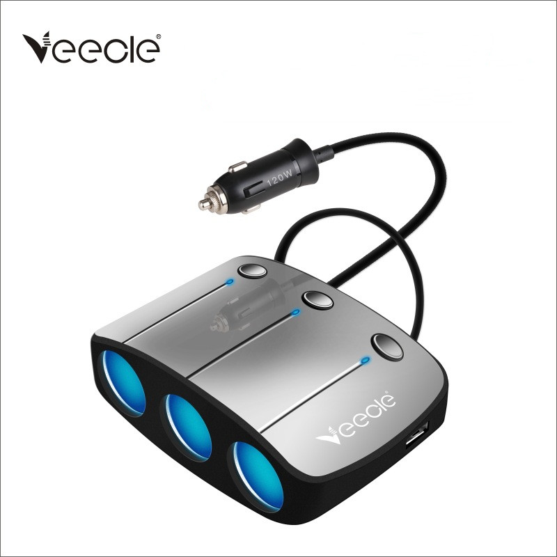 VEECLE <font><b>12V</b></font>/24V <font><b>Car</b></font> <font><b>Cigarette</b></font> Lighter Socket Splitter Adapter 130W High Power USB <font><b>Car</b></font> Lighter 3.1A Dual Usb <font><b>Charger</b></font> Plug image