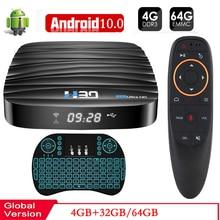 2020 אנדרואיד טלוויזיה תיבת 10 4GB 64GB 4K H.265 מדיה נגן 3D וידאו 2.4G 5GHz wifi Bluetooth חכם טלוויזיה תיבה