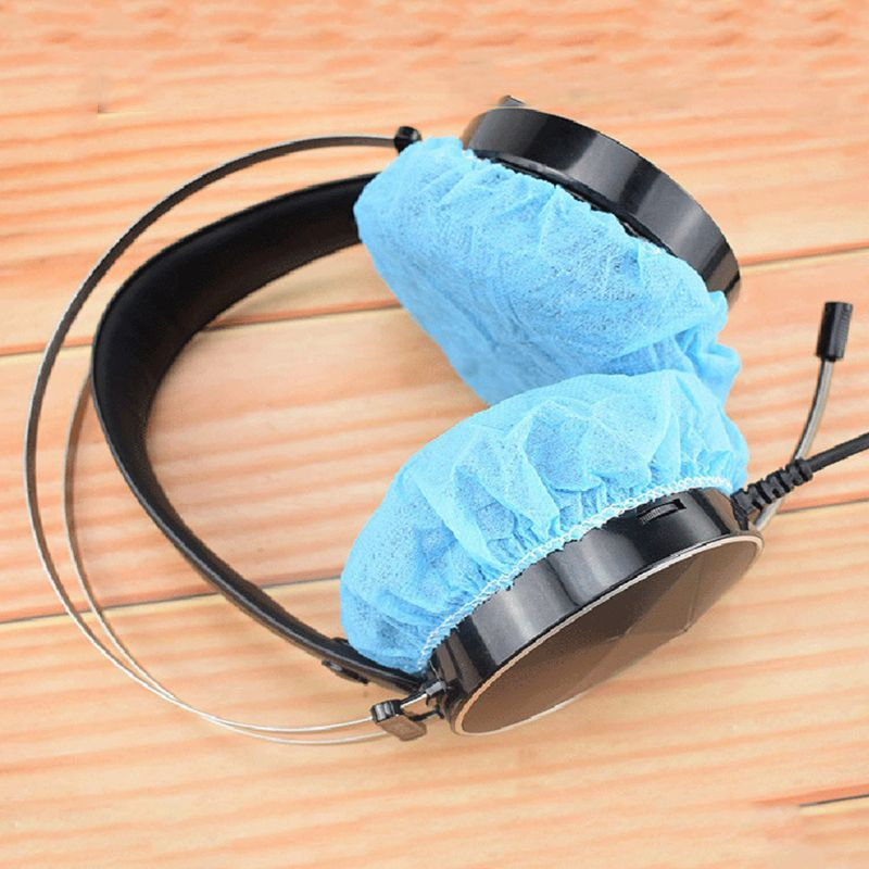 100Pcs//Bag Disposable Headphone Cover Nonwoven Earmuff Cushion 10-12CM Headset