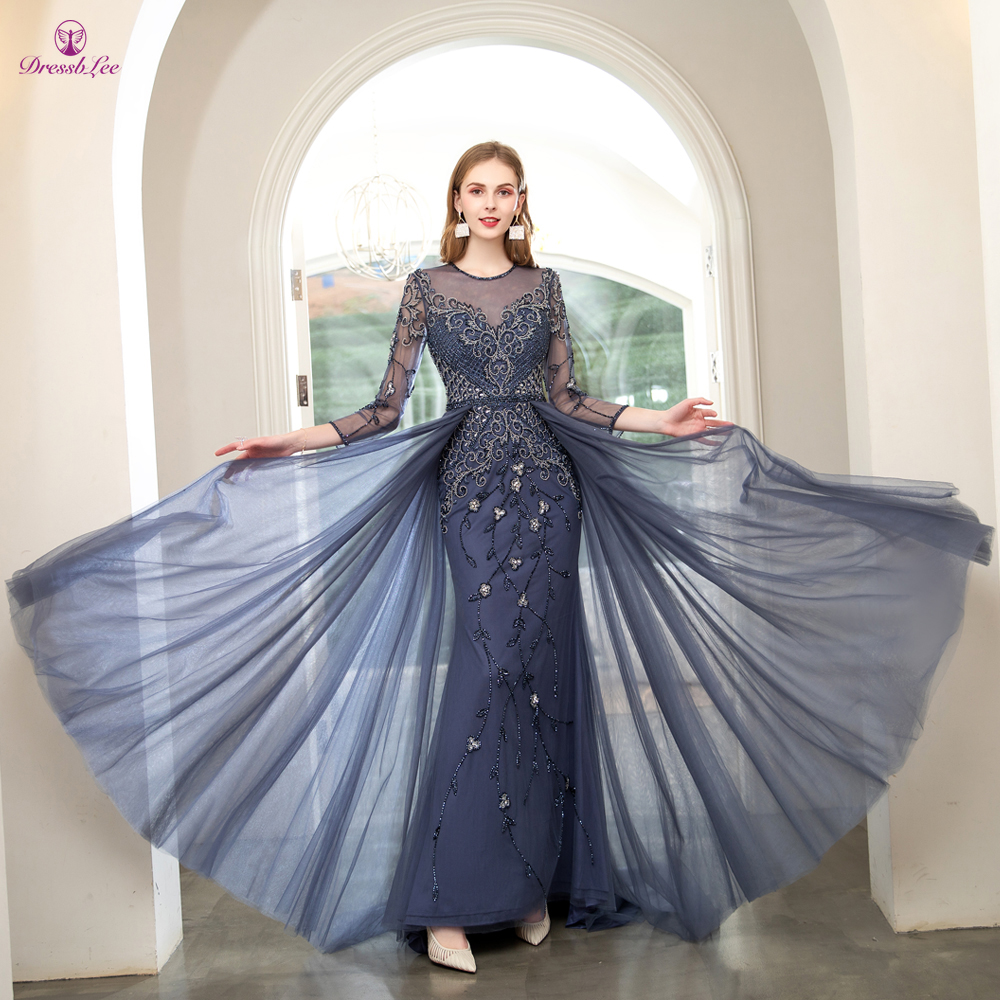 DressbLee New Long Evening Gowns Navy Crystal Pearl Hand-Beaded Dubai Full Sleeves Formal Party Gown Prom Dress Vestido-de-festa