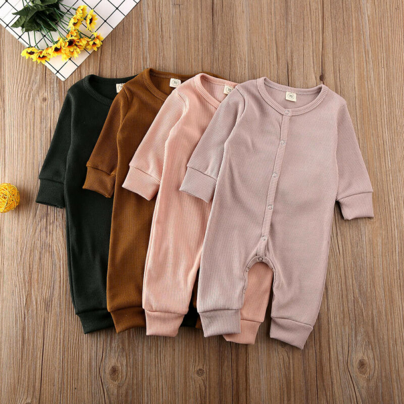 Pudcoco Newborn Baby Girl Boy Clothes Kids Knitted Long Sleeve Autumn Winter Romper Infant Soild Jumpsuit Outfit Sleepwear
