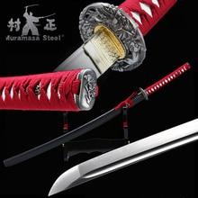 Real Handmade Japanese Katana Spring Steel Blade Full Tang Sharp Ready For Battle Samurai Sword Black
