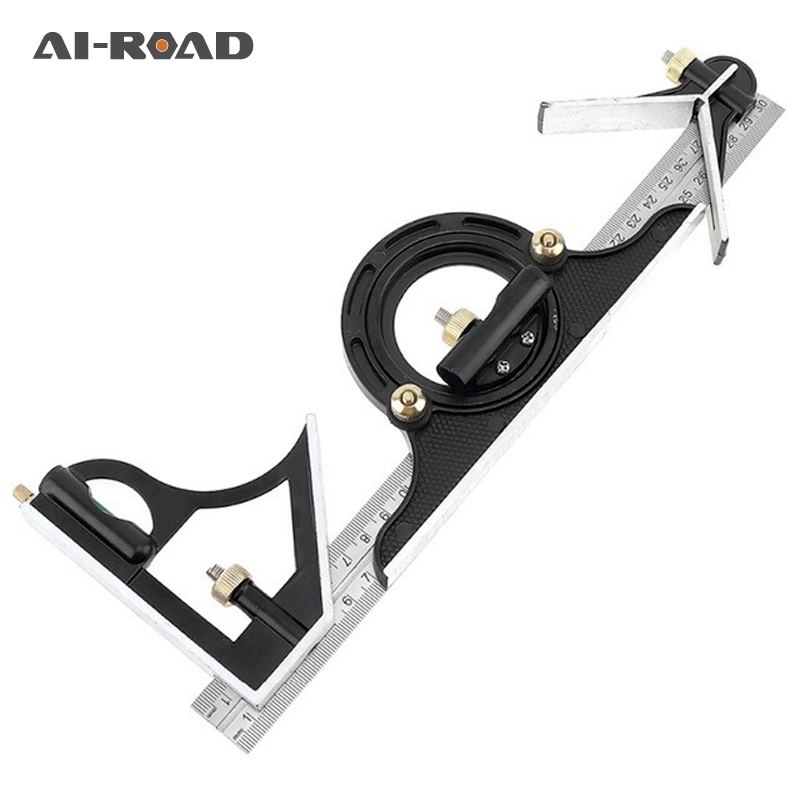 300MM Professional Carpenter Tools Combination Square Ruler Stainless Steel Protractor Multi-function Measuring Tool