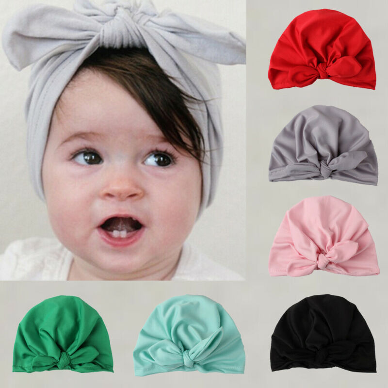 2pc Cute Newborn Baby Toddlers Hats Soft Turban Cap Knotted Headbands Head Wrap