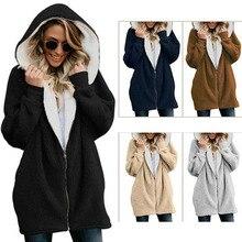 Autumn Winter basic jacket women zipper hooded fur long coat women plus size new