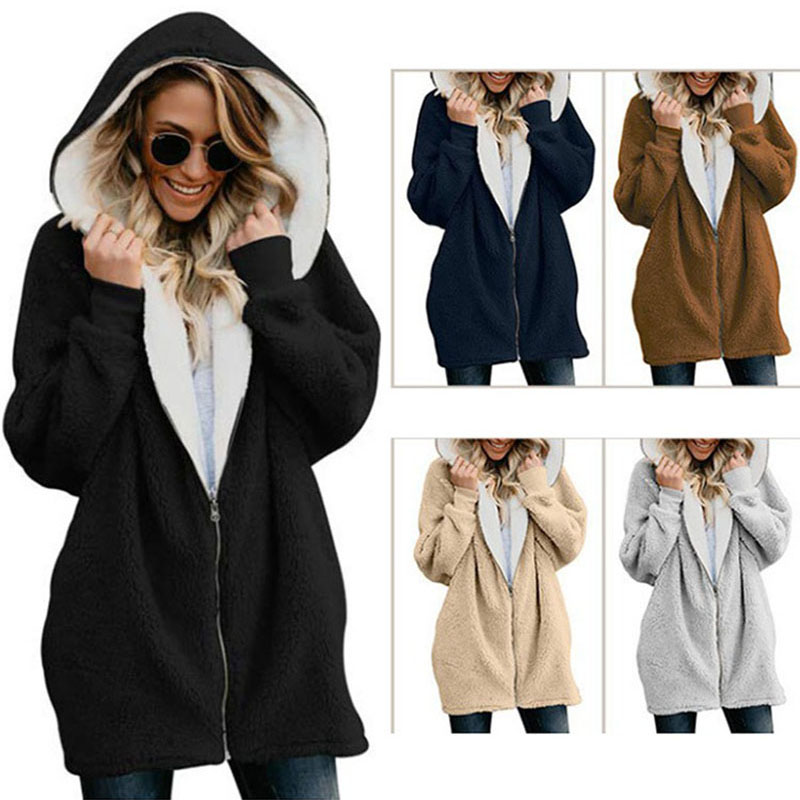 Autumn Winter   basic     jacket   women zipper hooded fur long coat women plus size new casual ladies clothes outwear   jackets   BDR677