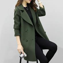 Women Wool Blend Warm Long Coat Plus Size Female Slim Fits L