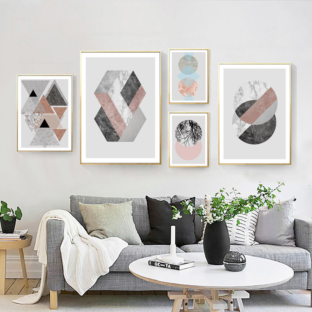 Abstract Painting Nordic Poster Geometric Canvas Print Art Posters Watercolor Paintings Wall Decor Bedroom Unframed